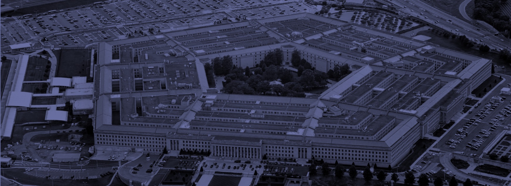 blue aerial view of the united states pentagon